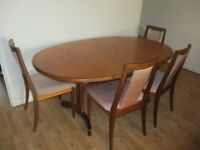 G Plan Oval Teak Dining Table and Chairs x 4 - Collect from Hendon by Sunday 25th June - VGC
