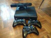 Black Xbox 360 slimline 250GB, 3 controllers and Kinect + games