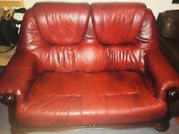 Burgundy Leather Sofa 2 Seater