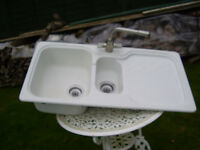 FRANKE MOULDED KITCHEN SINK PLUS TAP AND ACCESSORIES.
