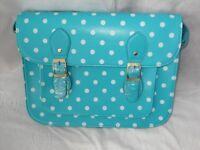 New Woman's Ladies Fashionable Polka dot Turquoise Leather Style Large Satchel, Shoulder, Handbag.