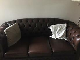 Genuine Leather Chesterfield 3 Piece Suite