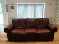 Dark Brown Leather 2 and 3 Seater Sofas
