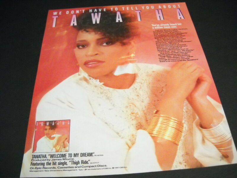 TAWATHA 1987 promo poster ad w/ LUTHER VANDROSS Mtume BRYAN FERRY Lou Rawls refs