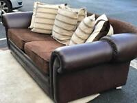Lounge Suite/leather and fabric sofa