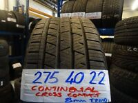 MATCHING SET 275 40 22 CONTINENTAL CROSS CONTACTS TREAD AS NEW £140 PAIR £250 SET OF 4 SUP & FITD
