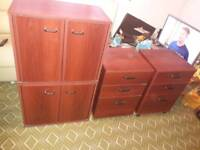 2 bedside chest of drawers & 2 cupboards