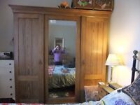 VINTAGE PITCHED PINE DOUBLE/TRIPLE WARDROBE WITH MIRRORED DOOR