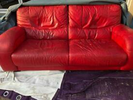 Free red leather sofa & foot stool