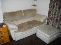 Leather and fabric sofa, armchair and storage footstool