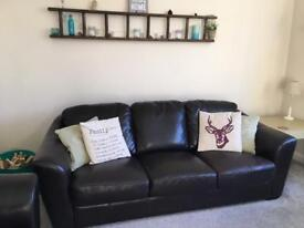 Quick Sale! Two brown leather sofas 3 and 2 seater