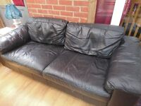 Black leather sofa good condition no rips or tears, very good quality leather