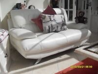 WHITE SOFT LEATHER SOFA. SECOND IDENTICAL SOFA FREE!