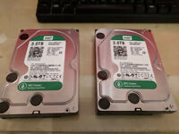 2x 3TB Western Digital Green Hard Drives