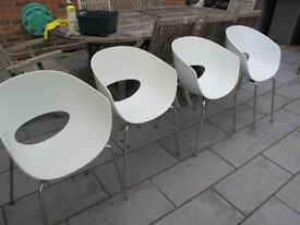 White and chrome dining chair