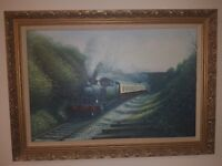 oil painting Great Western Railway Steam Train Signed j downie
