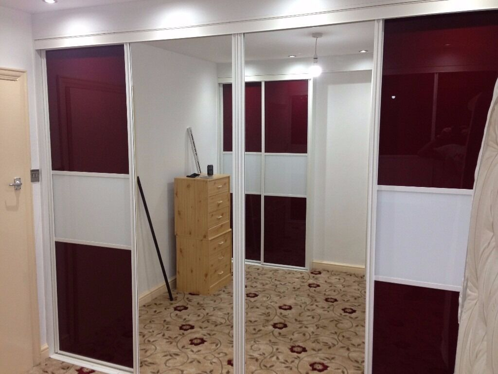 Space-pro Sliding Wardrobe 4 Doors Maroon and White Colour Panel & Mirror Glass
