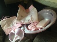 pink cot bumper & quilt, 4xfitted sheets (2 brand new) bath & top and tail bowl