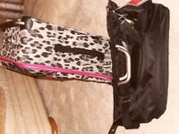 """""""IT"""" Black Leopard Skin Suitcase and Hang Luggage Bag"""