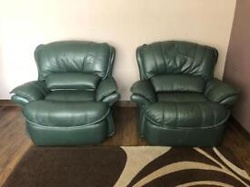 Money Green leather 3 seater sofa with 2 armchairs 1 recliner
