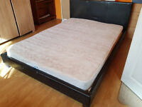 Leather Bed frame 4FT6 Double with mattress