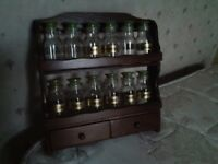 Old style wooden spice rack