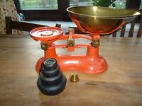 Victor Red Kitchen scales with Brass scoop and full set of weights