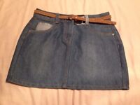 Denim Skirt With Belt Age 11-12 Brand New With Tag