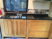 Used Sonoma Marks and Spencer solid oak kitchen units and hob