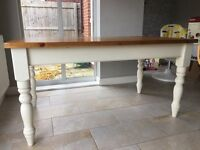 Shabby chic 6 seater pine dining table
