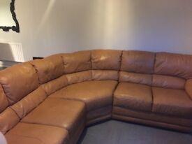 Mustard leather corner sofa