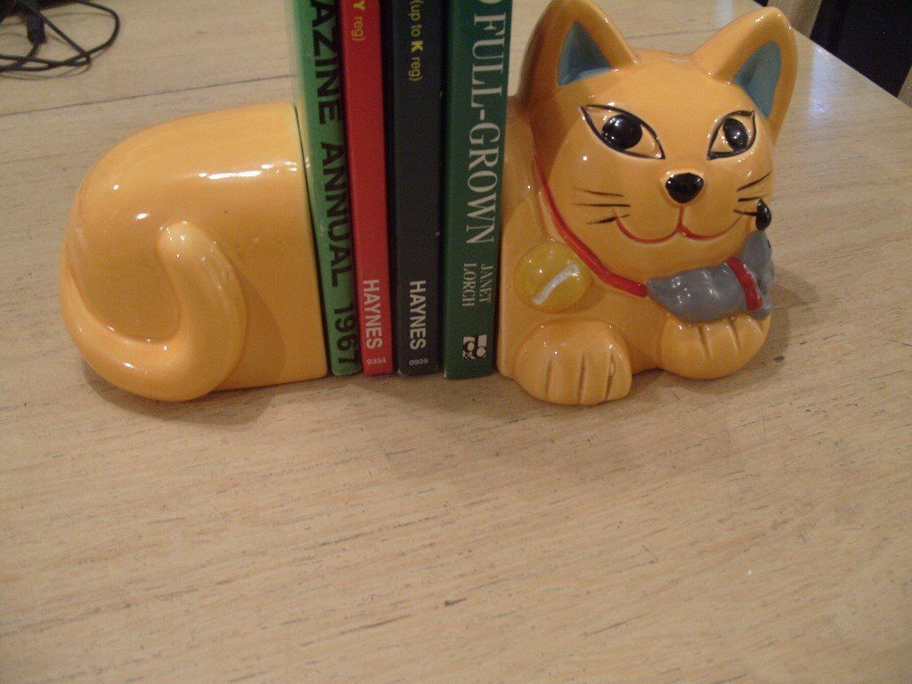 Cat book ends good condition