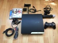 Sony PlayStation 3 Slim 320GB Charcoal Black Console (PS3 Slim) with free Play Station Move bundle