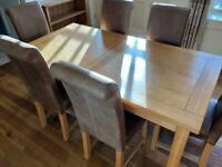 Oak Dining Room Table & 6 Real Leather Chairs