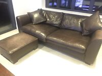 2 X BROWN LEATHER SOFAS AND POUFFE COLL STANMORE HA7