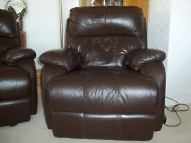Electric reclining chair (£200) & 2 seater recling sofa (£100)/brown leather, excellent condition.