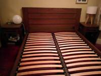 M&S Sonoma dark oak king size bed and 2 matching bedside tables