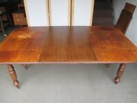 VICTORIAN JOSEPTH FITTER OAK EXTENDING DROP LEAF DINING TABLE WITH WINDER FREE DELIVERY