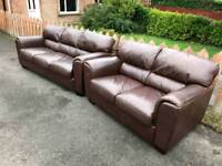 3 and 2 seater Sofa in a brown leather
