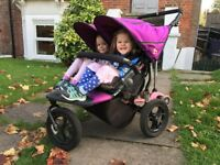 Out n about double buggy V4 purple