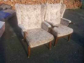 Chairs - Dark Wood Frame & Fabric Wing Armchairs