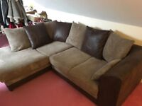 CORNER SOFA - LIKE NEW - brown/leather/perfect condition/pick up only/west yorkshire