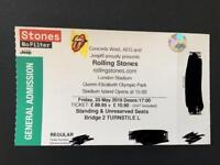 1x Rolling Stones ticket 25-5-18 Olympic Park Queen Elizabeth II London.