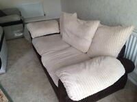 2 lovely cream and brown sofas £120