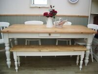 Stunning Pine Farmhouse 6ft Table Chair and Bench Set.