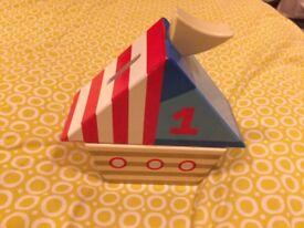 Wooden Ship Money box, few chips but still usable