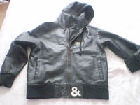 Black Soft Hooded Leather Jacket Size Small