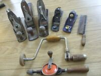 Job Lot / Bundle of Woodworking Hand Tools - 5 Planes Stanley Whitmore Span Record, 2 Drills 1 Saw