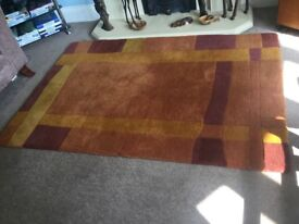 Autumn Gold Wool Rug Good Condition Measurements 47.5in/123cm x 69cin/175cm