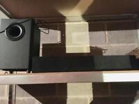 Orbit sound bar and speaker.